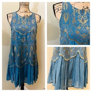 Free People Teal Embroidered Dress
